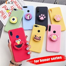 3D silicone cartoon case for huawei honor 9 10 lite view 20 pro 8x play 10i 20i girl cute phone holder stand soft cover funda(China)