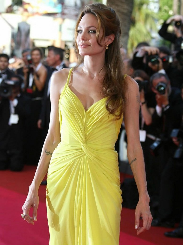 Angelina Jolie Hot Stills us $119.0 |angelina jolie red carpet party gowns sexy custom made floor  length yellow celebrity dress sweetheart pleat-in celebrity-inspired  dresses