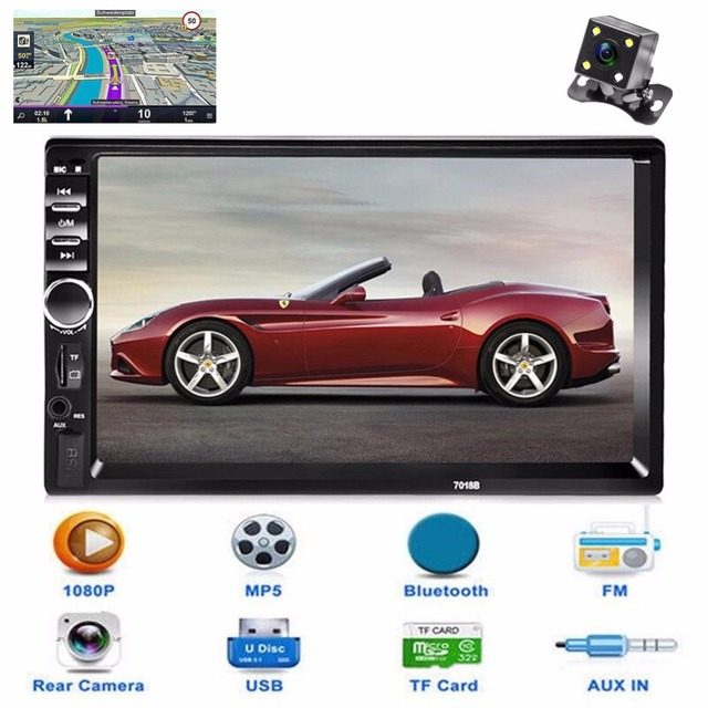New 2 Din Car Central Multimedia Player GPS Navigator Car Radio Bluetooth MP5 Player Automotivo DVD AUX USB SD Car Audio Stereo