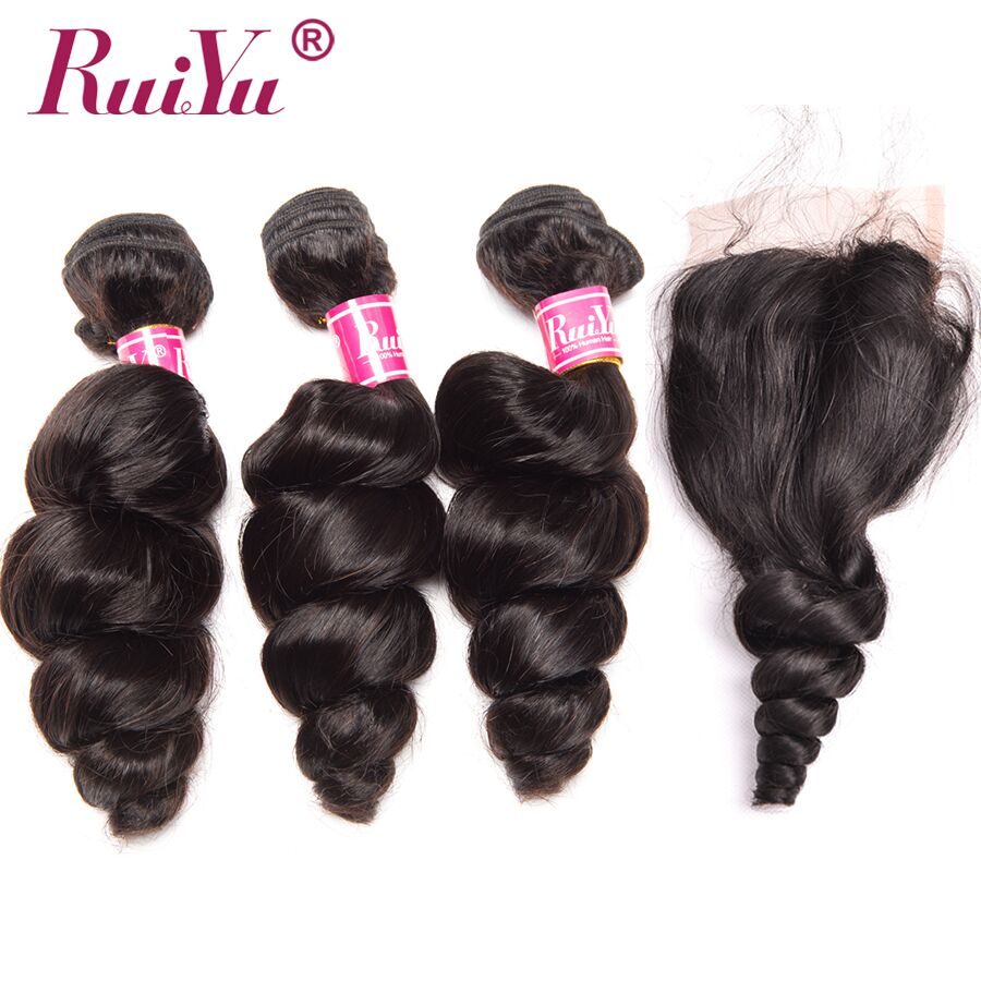 RUIYU Brazilian Hair Weave 3 Bundles With Lace Closure Loose Wave Human Hair Bundles With Closure Free Part Remy Hair Extensions