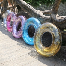 120cm Colorful Sequin Swimming Ring Tube Transparent Inflatable Mattress Glitter Giant Pool Floats Swim Circle PVC Boats