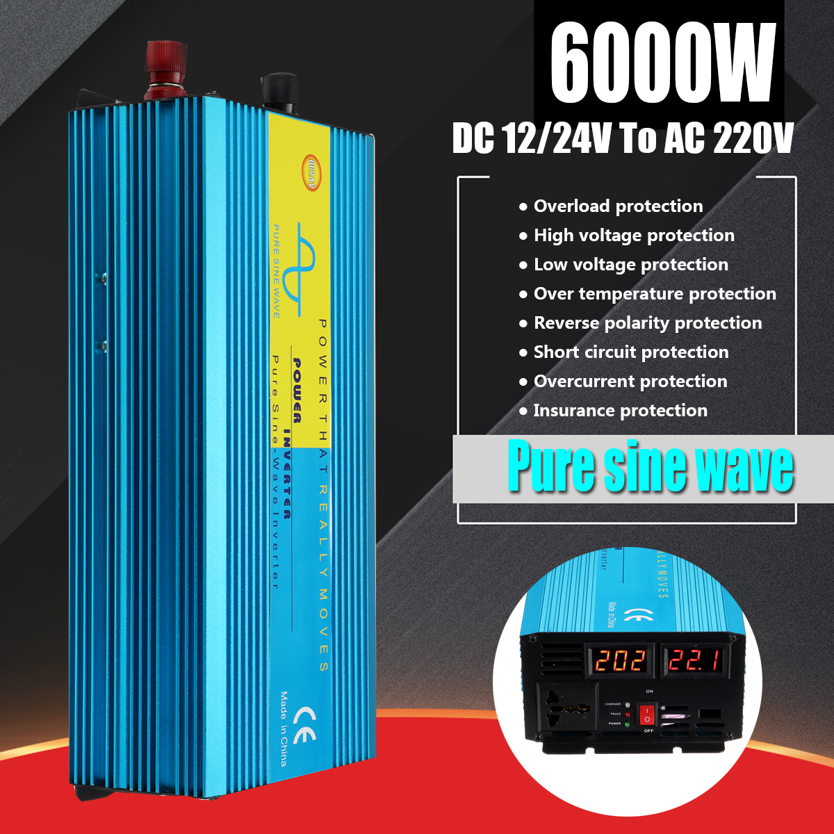 Pure Sine Wave Watt Power Inverter PEAK 4000W DC12/24V To 220V Car Caravan Camping 8 Intelligent Protect Voltage Transformer