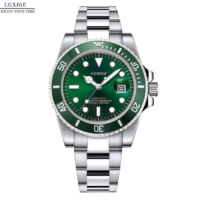 Full Steel Waterproof Diver Watch Men Quartz Movment Mens Watches Top Brand Luxury Wristwatch Green Male Clock relogio masculino цена
