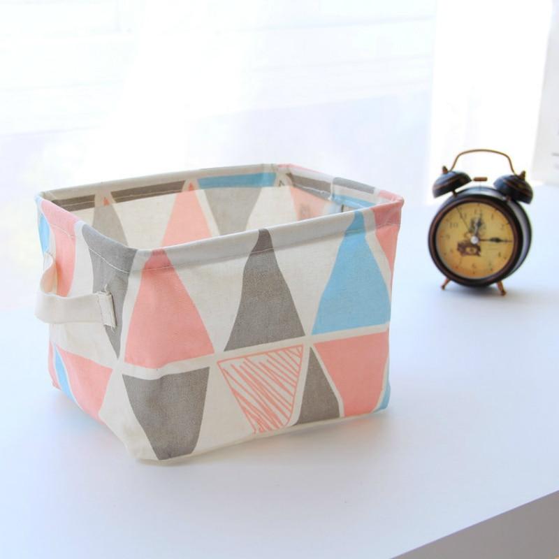 Nordic Linen Office Desk Organizer Portable Desktop Storage Basket Cosmetic Storage Box Makeup Organizer Sundries Box 1PC