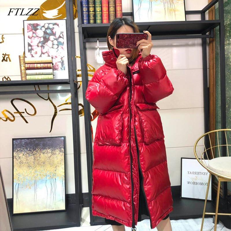 Kadın Giyim'ten Şişme Montlar'de FTLZZ 2019 Kadınlar Uzun uzun kaban Kış sıcak tutan kaban Uzun Kollu Beyaz Ördek Aşağı Parka Standı Yaka Dış Giyim Fermuar Cep Ceket'da  Grup 1
