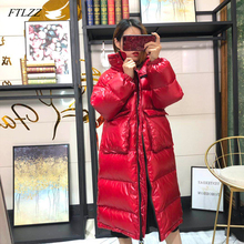 FTLZZ 2020 Women Long Down Coat Winter Warm Coat