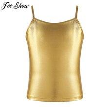 Las chicas grandes espaguetis correas de hombro metálico brillante Camiseta tanque de baile de Ballet de la competencia de la etapa de la ropa
