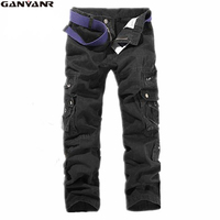 GANYANR Brand Outdoor Men's Cotton Combat Multi-Pockets Long Straight Cargo Camping Hiking Long Pants Trousers Camouflage Cotton