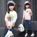 Kids Girls Spring / Autumn 2017 new long-sleeved T-shirt baby girls' clothing fashion sunflowers shirt 4/5/6/8/9/10/11/12 years