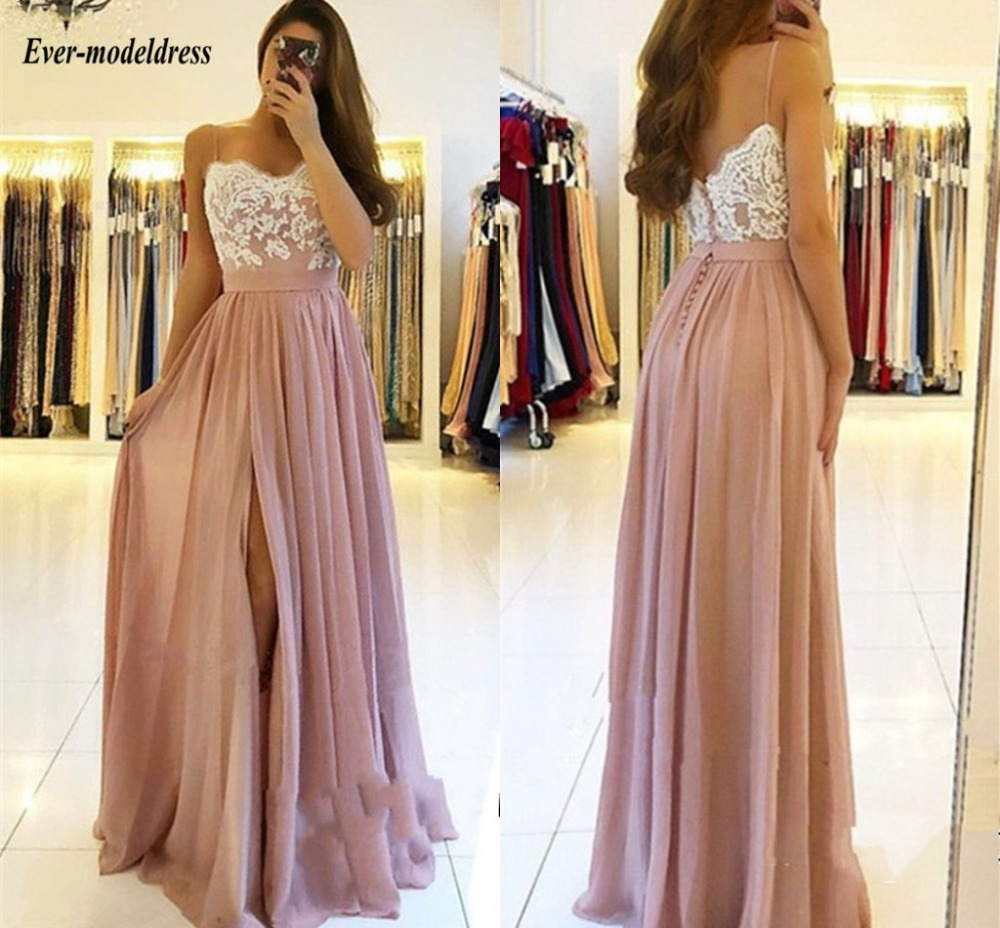2018 High Side Split   Bridesmaid     Dresses   Spaghetti Straps Appliques Sweetheart Backless Chiffon Wedding Guest Party Gowns