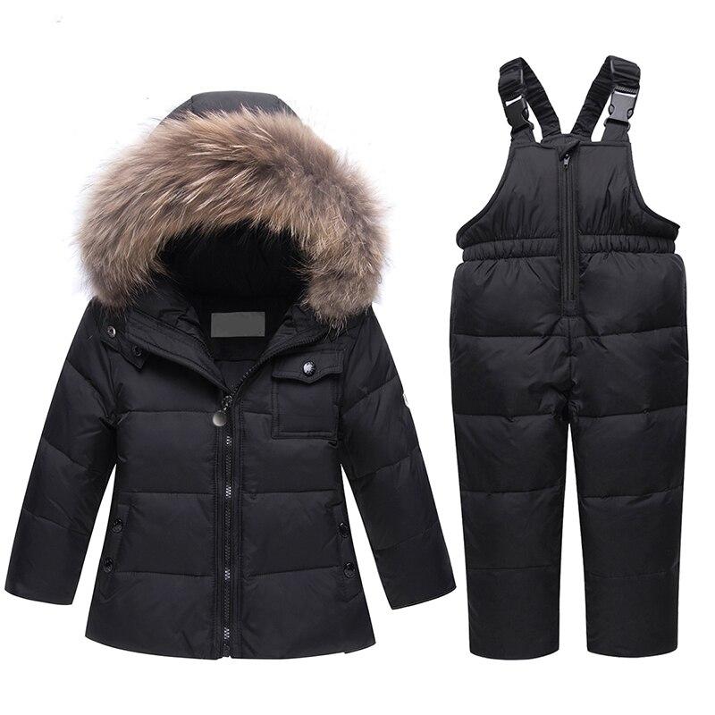 HSSCZL 2018 Children Clothing Set Jumpsuit Snow Jacket+bib Pant 2pcs Set Baby Boy Girls Duck Down Jacket Coat With Fur Hood 2-6A недорго, оригинальная цена
