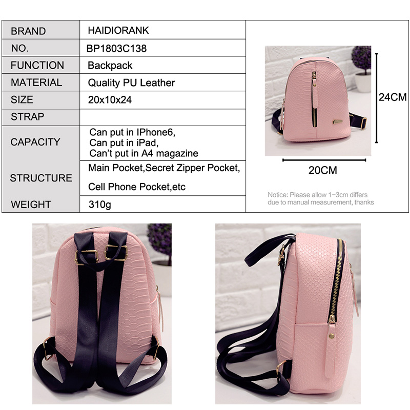 Women s Backpack 2018 Fashion School Little Backpacks For Teenage Girls PU  Lether Bag Waterproof Small BagPack Mini Backpack-in Backpacks from Luggage  ... c9569a092758d