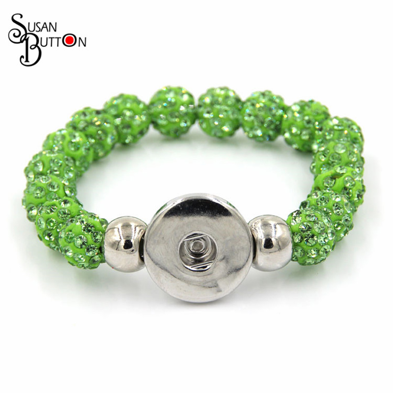 10mm Grass Green Shamballa Ball Bracelet Bangle Snap Ginger Charms Snap Button Bracelet for 18mm snap button jewelry SJSB080