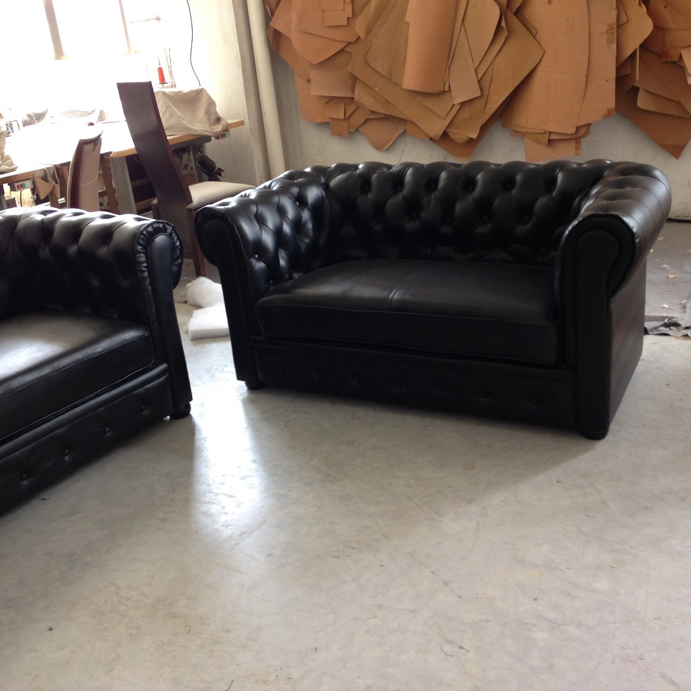 JIXINGE Modern High Quality Classical living room t Sofa Genuine Leather Sofa American Style Chesterfield Sofa 2+3 seater black