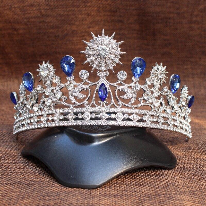 تيجان ملكية  امبراطورية فاخرة Earring-Headdress-font-b-Royal-b-font-font-b-Crown-b-font-Silver-Rhinestone-Imitation-Blue