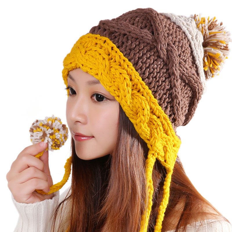 BomHCS Koren Style Sweet Cute Women Wool Ear Muff Knitted Hat Girl Autumn Winter Warm 100% Handmade Beanie Hats With Balls bomhcs korean cute autumn winter warm color mosaic knitted hat ear muff 100% handmade women beanie cap