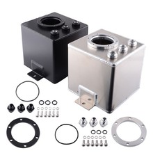SPEEDWOW 2L Billet Aluminum Oil Fuel Surge Tank With Fittings Auto Can Catch Radiator Water Coolant