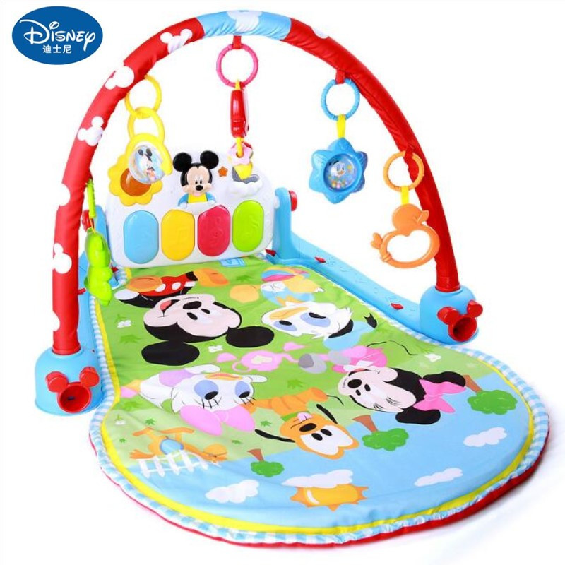 Disney baby Play Mats Multifunction Piano Fitness Rack With Music Rattle Infant Activity Play Mat Children Educational Toys цена