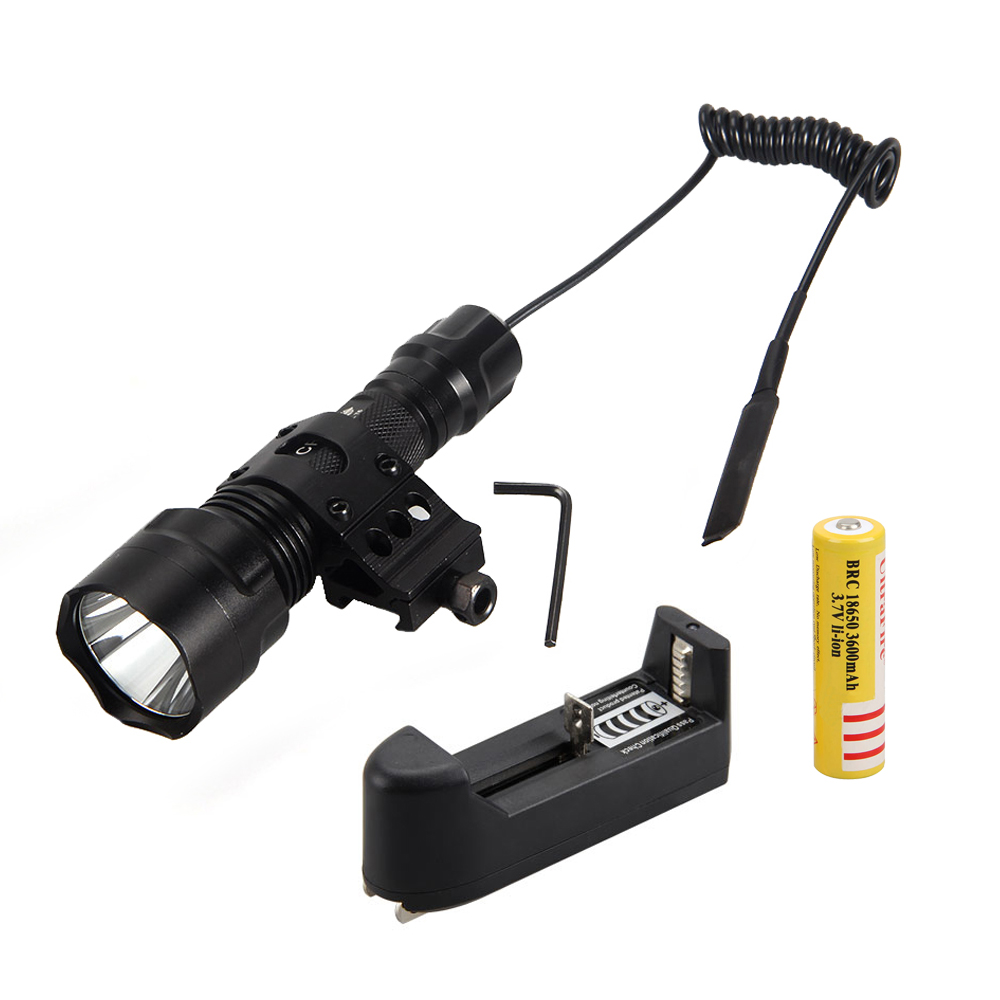 1000 Lm T6 LED Light Torch Tactical Hunting Flashlight Picatinny Weaver Mount For Hunting Lantern+18650 Battery+Charger