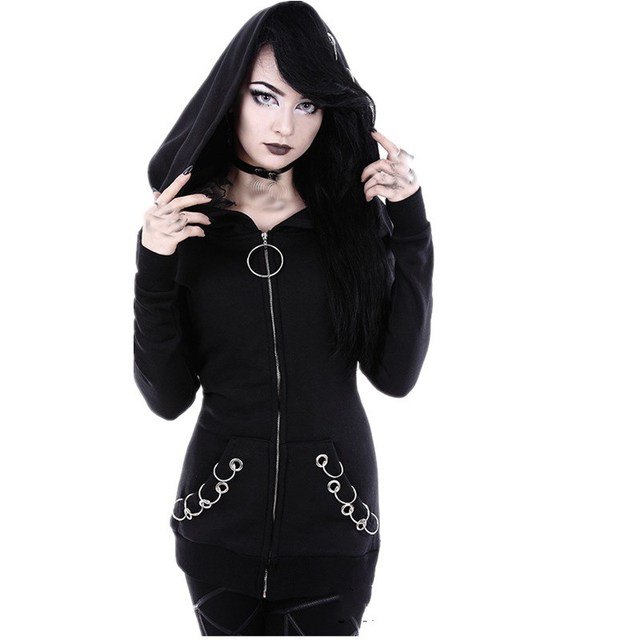 Women Hoodies Iron Ring Casual Sweatshirt Hood Long Sleeve Loose Sweatshirt Long Gothic Punk Plus Size Tracksuit