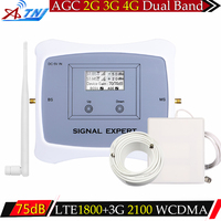 ATNJ 2G 3G 4G 1800 2100 Dual Band Cell Phone Signal Booster 75dB Europe GSM Repeater 3G WCDMA UMTS 2100 4G LTE 1800 Amplifier