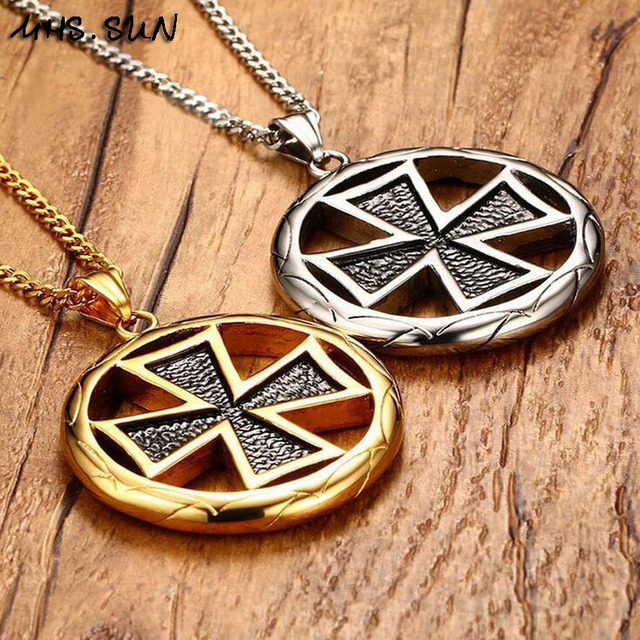 Mhsn punk style malta cross pendant necklaces 316l stainless sun punk style malta cross pendant necklaces 316l stainless steel cross charm chain neklaces aloadofball