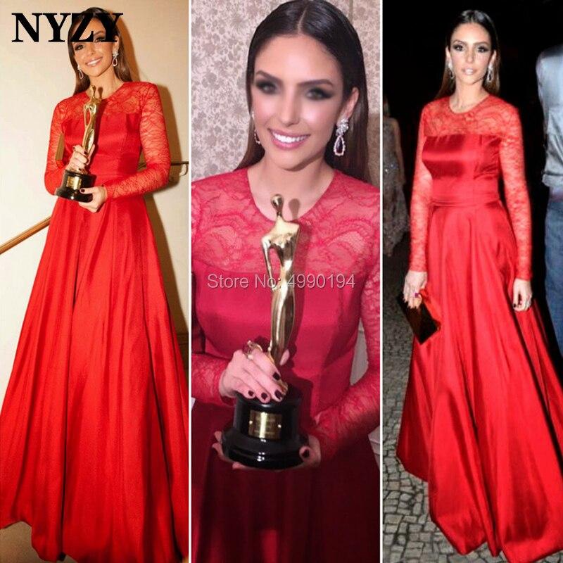 NYZY P47 dentelle manches longues Satin grande taille robe de bal rouge 2019 élégante soirée Gala robes de soirée robe de festa longo