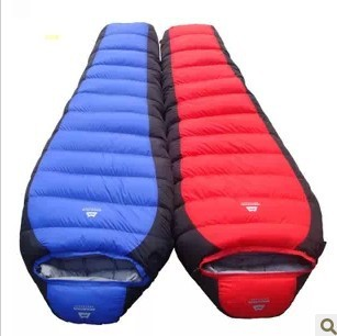 2014 new style high quality duck down filling warm and comfortable camping bivvy winter sleeping bag 1500g filling two tone frill trim blouse