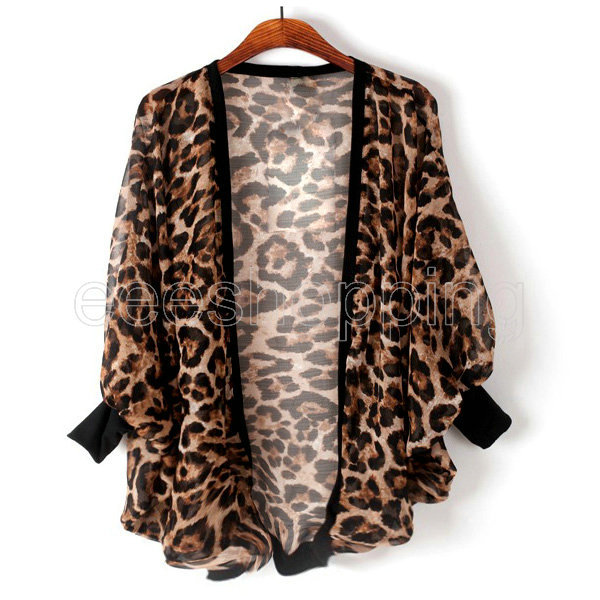 Q456 Oversized New Fashion Women Ladies Leopard Chiffon Batwing ...