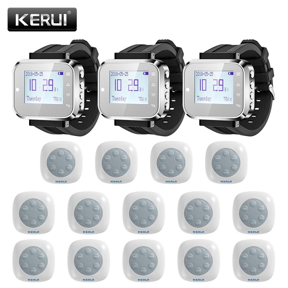 KERUI 14ps Waterproof Wireless Home Restaurant Hospital Call System Button Buzzers Waiter Service Calling System Smart Watch