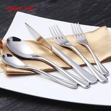 5pcs Luxury Silver Plated Cutlery Set 18 10 Stainless Steel Dinner Knives Salad Fork Teaspoon Hotel Restaurant Dinnerware Set