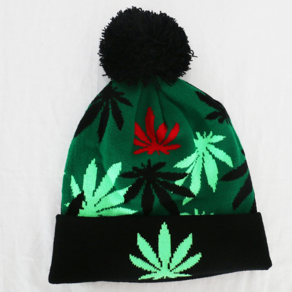 Free Shipping 2017 New Winter Sport Green Weed Leaf Beanie Hats For Women Mens рубашка в клетку insight fred sonic weed green