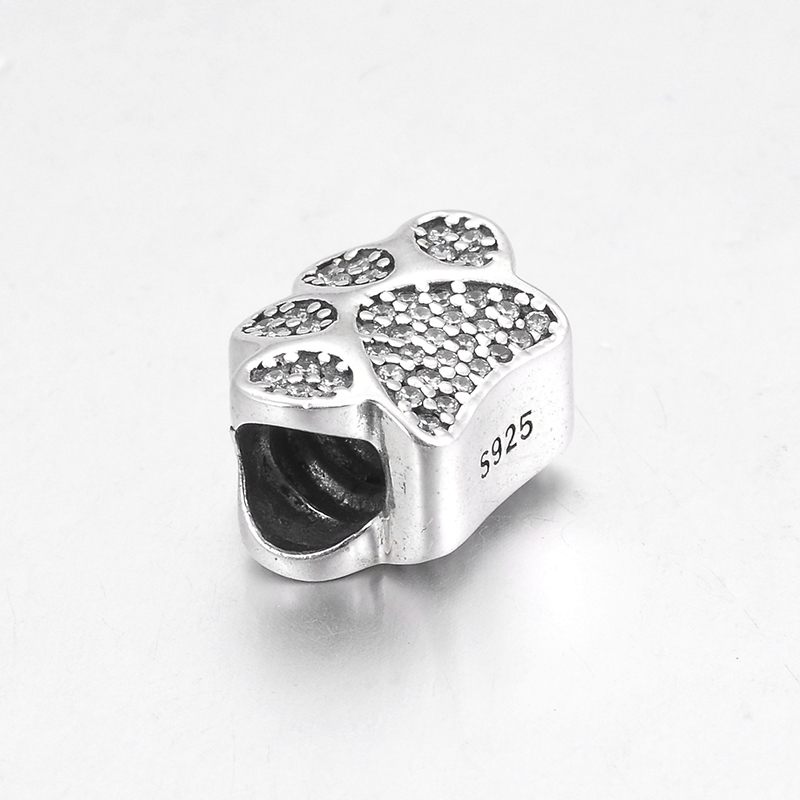 Fashion Cute dog Paw Prints 925 Sterling Silver Sparkling Zircon fine Bead Fit Original Pandora Charm Bracelet Jewelry making in Beads from Jewelry Accessories