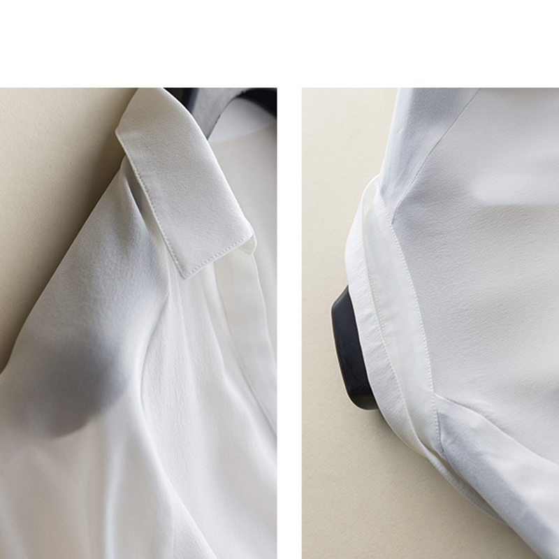 GUIYI Gola V Profundo Sexy Longas Mangas Soltas OL Camisa Das Senhoras 100% de Seda Das Mulheres Sólido Branco Conforto Temperamento T shirt - 5