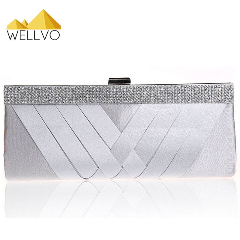 Satin Evening Bag Lady Party Wedding Handbag Purse Girl Bridal Women Diamond Chain Clutch Bride Purple Apricot Clutches XA1997c new women s retro hand beaded evening bag wedding bridal handbag chain shoulder bag stitching sequins diamond stone day clutches