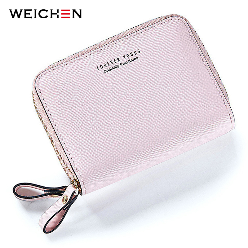 WEICHEN Double Zipper Designer Brand Fashion Leather Women Wallets Mini Purse Lady Small Leather Wallet Card Holder Coin Pocket 2018 fashion genuine leather women wallet bi fold wallets id card holder coin purse with double zipper small women s purse