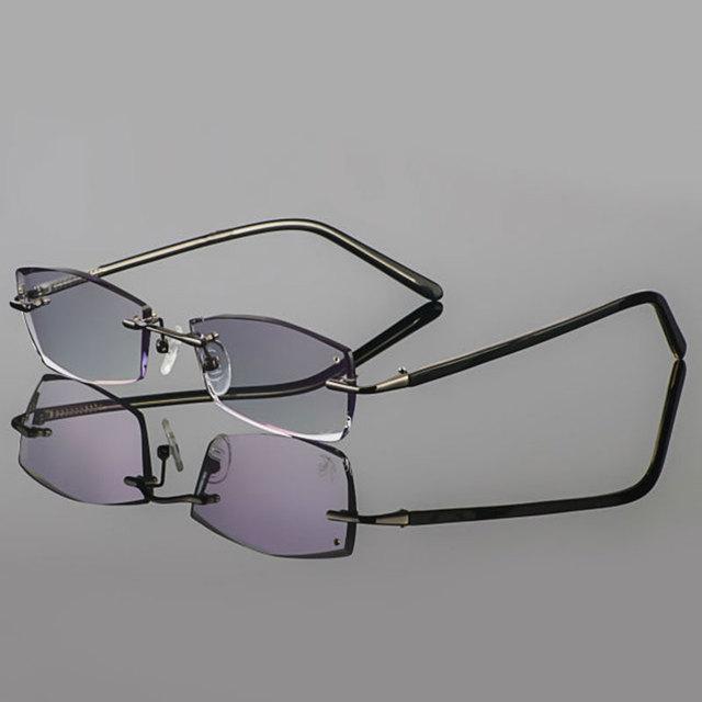 2015 Fantasma corte modelos Arma corte de diamante de cristal de metal sem aro de titânio óculos masculinos óculos de prescrição terminou