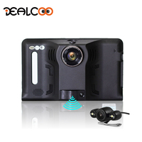 Dealcoo 7' Car DVR Recorder Camera with Radar Detector Android 1080 GPS Navigation 3 in 1 Dual Lens RearView Cam Parking Monitor