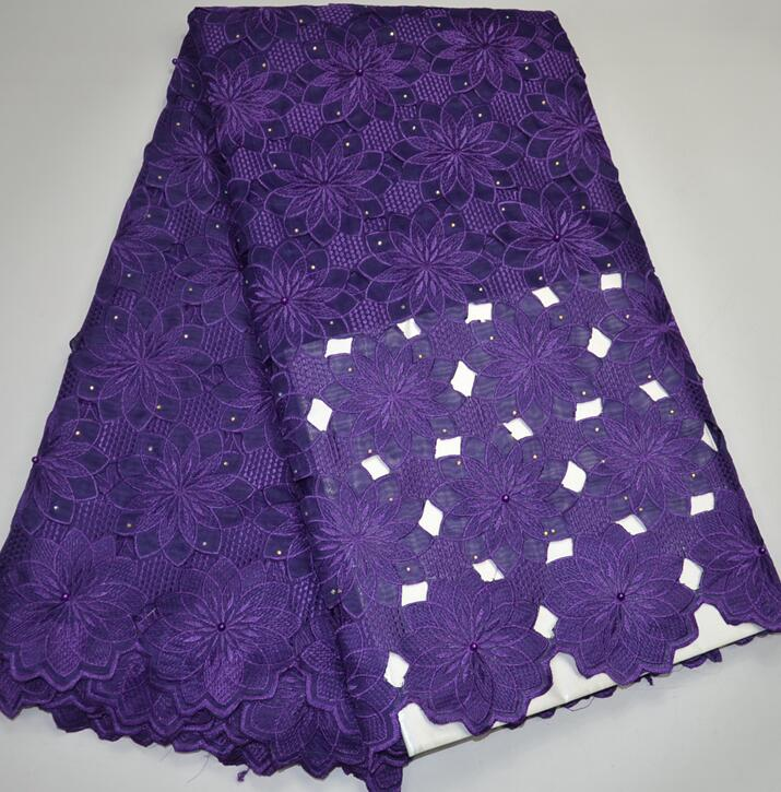 E9044  High class purple Handcut High Quality African lace fabric Swiss voile 100% cotton  organza lace fabric with sequins