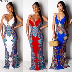 2019 women summer paisley vintage print spaghetti strap sleeveless maxi mermaid dress sexy party new long vestido dresses GLZ048