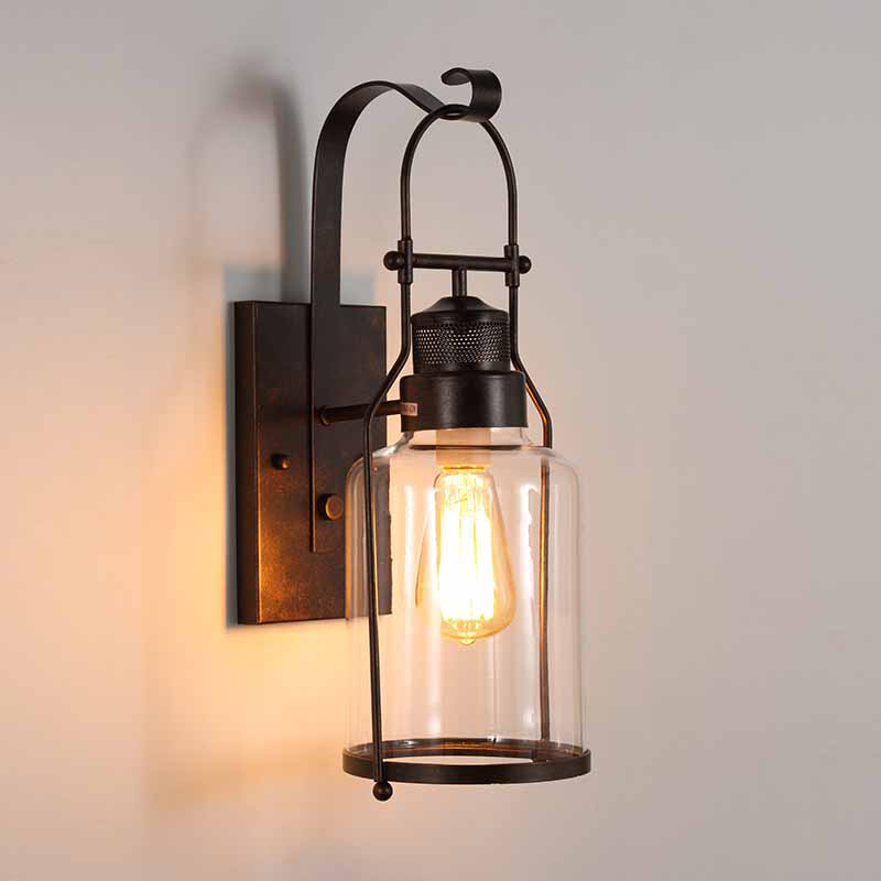 loft vintage retro iron wall lamp for living room bar glass balcony wall lamp люстра osgona ampollo 786082