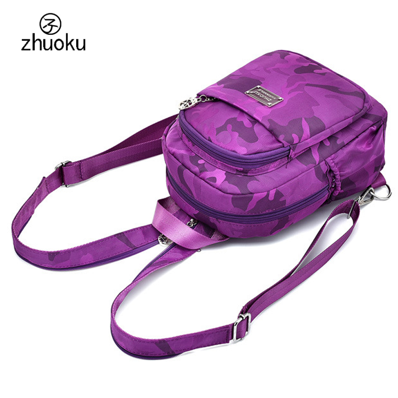 Small Mini Backpack Waterproof nylon Oxford cloth Double Shoulder bag Cute School bags Multifunction Chest Women backpack ZK769