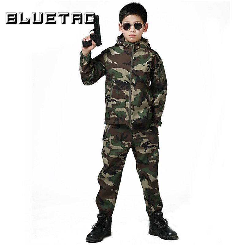 Boys Girls Autumn Winter Hooded Jackets Water Resistant Raincoat Youth Kids Hunting Hiking Waterproof Softshell Jacket