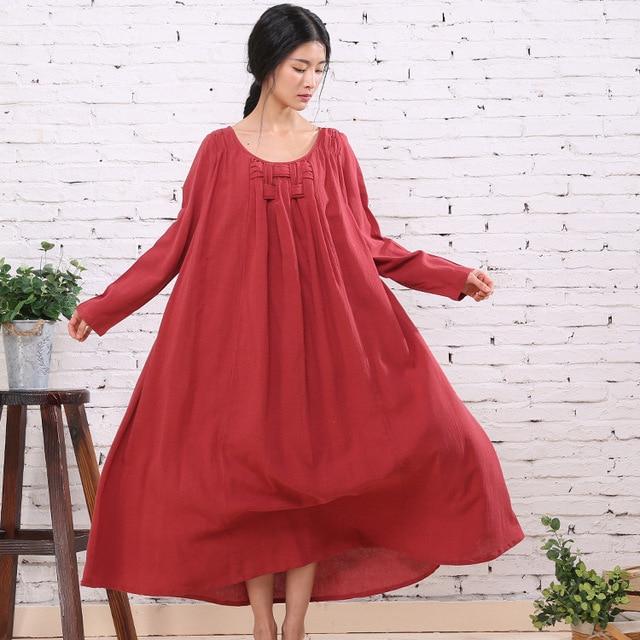 Woman Linen Maxi Dress Full Sleeve O Neck Plus Size Long Dress RED ...