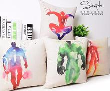 Superhero Avengers cushion case water colored superman catwomen spiderman seat Cushion Cases linen Pillow cases Home Decor gift