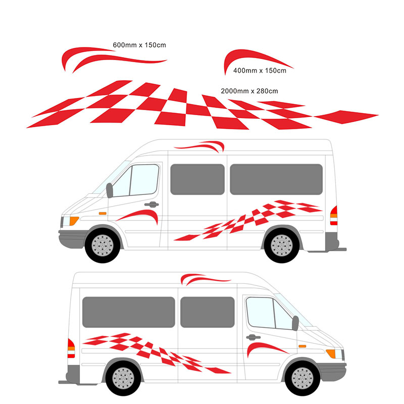 HotMeiNi 140 43 5CM 2M Motorhome Vinyl Graphics one for each side Stickers Decals Set Camper