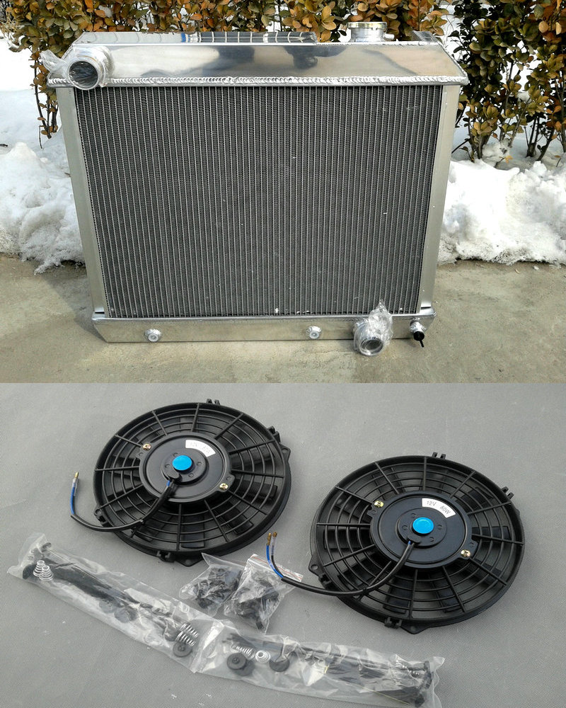 Fans for 1963-1966 CHEVY GMC C10//C20//C30 Pickup truck 3 Row Aluminum Radiator