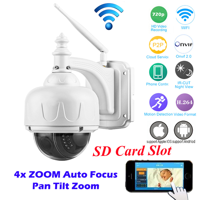 OwlCat HD 720P PTZ Wireless IP Speed Dome Camera Wifi Outdoor Security CCTV 2.8-12mm Auto Focus 4X Zoom Lens Micro SD Card ONVIF