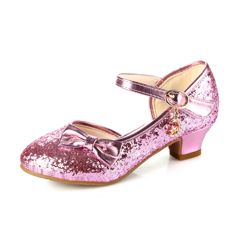 Image 5 - Children Princess Sandals Kids Girls Wedding Shoes High Heels Dress Shoes Bowtie Gold Shoes For Girls party shoe kids giftLeather Shoes   -
