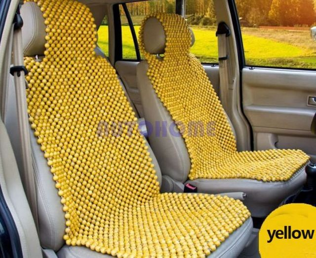1 Set Car Seat Cushion Covers Wood Bead Beaded Natural Massage Chair Wooden Truck Auto High
